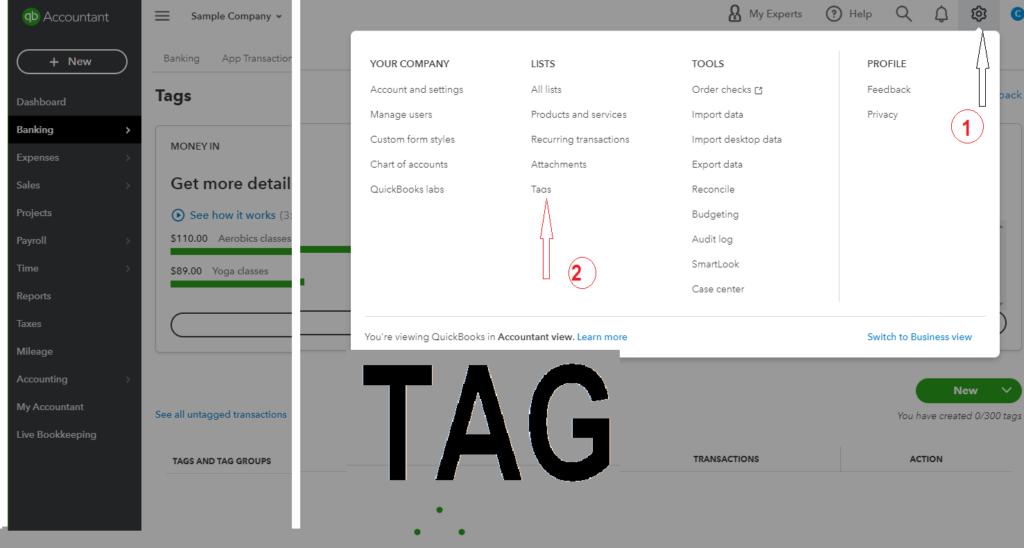 Tag in QuickBooks Online